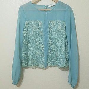 Tops - Turquoise sheer blouse with lace