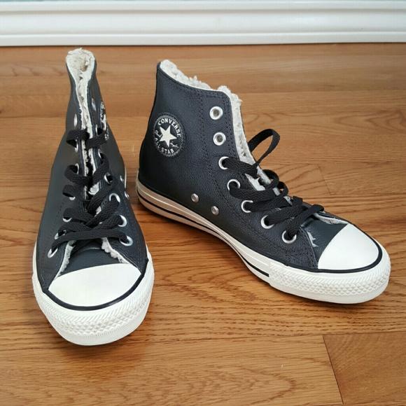 0e8f8b104da6 NEW Converse Genuine Leather Faux Fur Lined Grey
