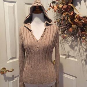 HOST PICK  Hooded sweater w snap neckline