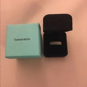 Authentic Tiffany and Co. white gold ring size 8