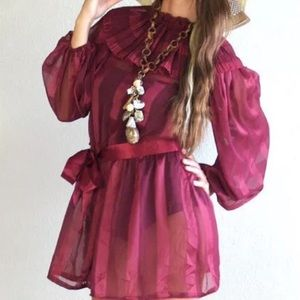 Sheer Burgundy Vintage Dress - Medium