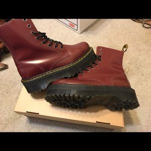 Dr Martens Jadon boot in cherry red rouge.