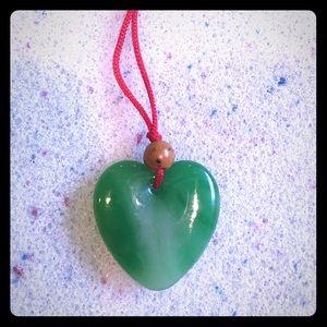 Jewelry - Greenstone Jade Heart Necklace