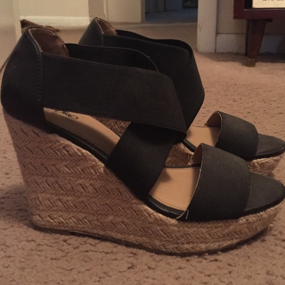 Mossimo Target Black Wedges Size 8