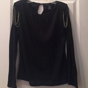 Isabel Lu Tops - Isabel Lu Black Top with chains on shoulders