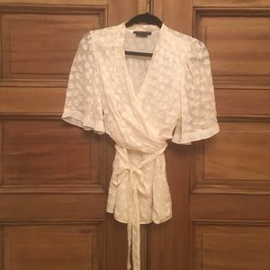 BCBG Cream Wrap Top