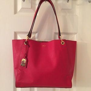 Ralph Lauren Handbags - 🛍 Ralph Lauren Red Gold Leather Shoulder Bag