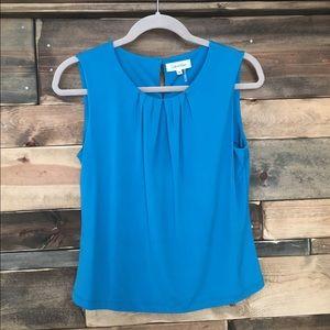 Calvin Klein Pleated Turquoise Sleeveless Tank