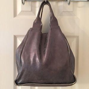 GAP Handbags - 🛍 Gap Silver Leather Butter Soft Tote Bag