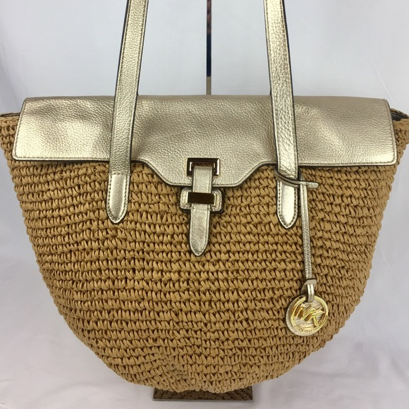 4381e73d8b51 ... promo code for michael kors straw naomi large straw leather tote a7a87  0fc92