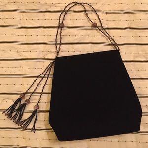 Black Velvet Beaded Evening Bag
