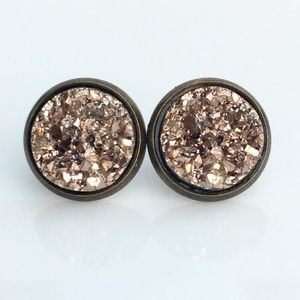 thejeweladdict Jewelry - 3 for 15🎀 rose gold faux Druzy bronze studs