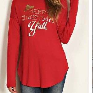 Tops - 🎁SALE! Merry Christmas Y'all Gold Foil Print Top