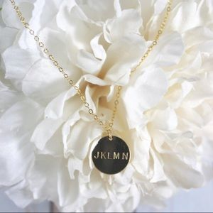 14k Gold Filled Hand Stamped Circle Charm Necklace