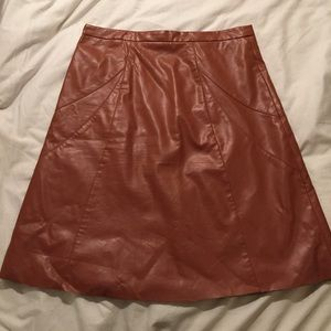 Cognac Pleather A-Line Skirt