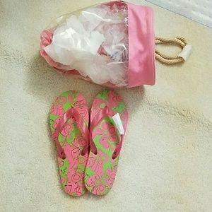 Shoes - Pink Rubber Flip Flops/ Sandals Bag