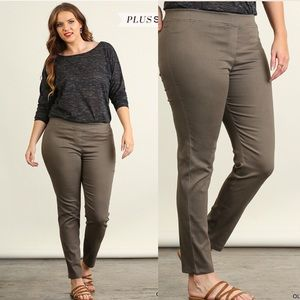 Pink Peplum Boutique Pants - 🆕 PLUS SIZE olive Jeggings with elastic waistband