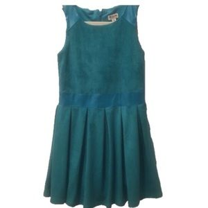 RUUM• Turquoise faux suede/PU leather dress~🔺📌
