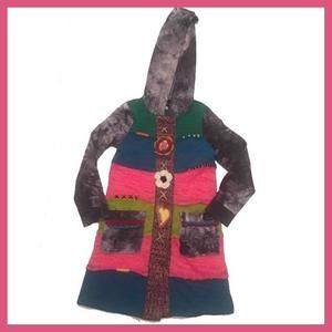 Hannah Banana Other - Multi colored hooded sweater coat (k)