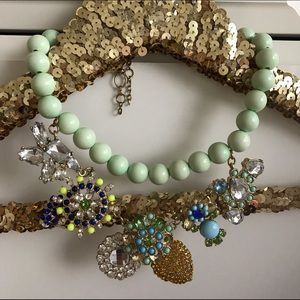 Ily Couture Jewelry - Mint Green Jeweled Statement Necklace