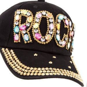 Accessories - HP! ROCK Blinged Hat w/ Gems&Gold Studded Bill! ❤️