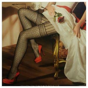 Gartered Love Black Lace Designed Hosiery