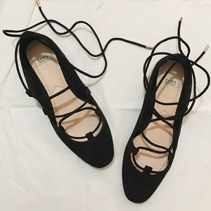 Zara lace up ballerina flats