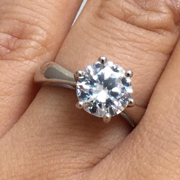 Solitaire Wedding Engagement Ring Solid Sterling Silver 2.62Ct White Russian CZ