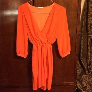 Lush Dresses & Skirts - Lush orange faux wrap dress
