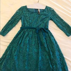 Kensie teal vintage lace dress