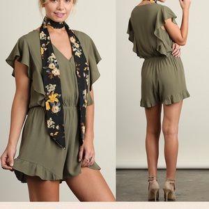 Pink Peplum Boutique Pants - 🆕 ARRIVAL! Olive V neck butterfly sleeve romper