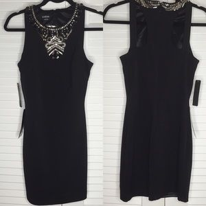 bebe Dresses - NWT Bebe Racerfront Beaded Ponte Dress