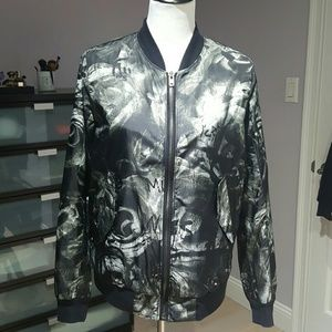 BLK DNM Jackets & Blazers - BLK DNM Graffiti Floral Print Bomber Jacket