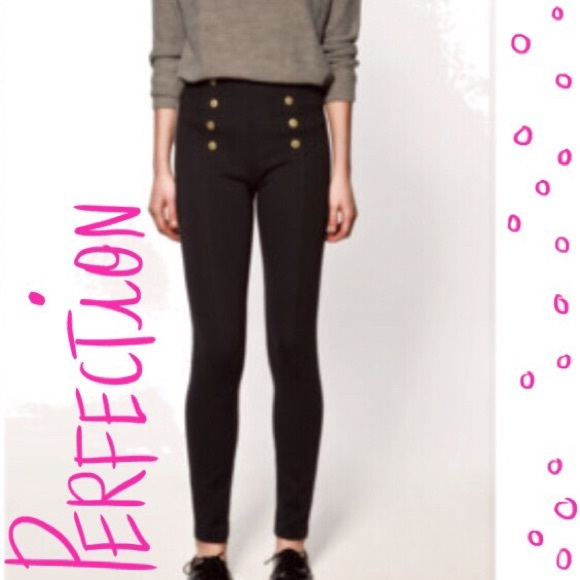 9e629bc28 Zara leggings with gold front buttons. M 58043c55eaf030b6440287ae
