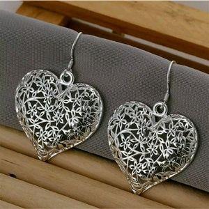 Jewelry - 925 Sterling Silver Heart Earrings