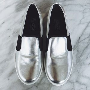 Topshop Shoes - Topshop Silver Slip On Sneakers