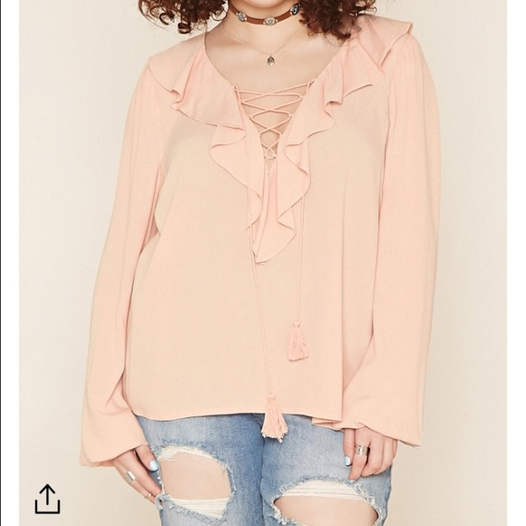 d550a9732c8abb Forever 21 Tops | Plus Size Ruffled Lace Up Top In Dusty Pink | Poshmark