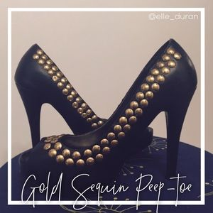 Shoes - Black and Gold Accent Peep-Toe Pumps