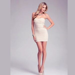 New Bebe ruched mesh beige & gold strapless dress