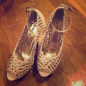 Bebe Metallic White Stilettos
