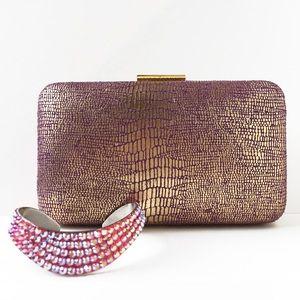 tarte Handbags - Tarte Gold & Plum Clutch & Crystal Cuff Bundle