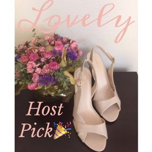 🎉HP🎉Ivory Color, Sling-Back Heels by 9 West-NWT