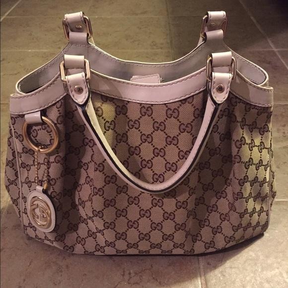 ba11b05e5 Gucci Bags | Medium Sukey Handbag White Trim Canvas | Poshmark