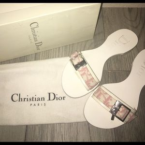 Authentic Christian Dior Toile Jean Logo Flats