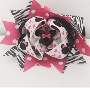 Other - Set of 2 Zebra Minnie Mouse Bows