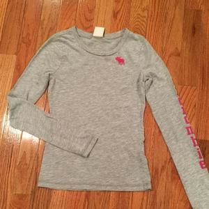 Abercrombie Kids Other - Gray Abercrombie Kids long sleeve T-shirt with pink logo on front and Abercrombie written on the sleeve.