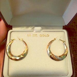 Jewelry - NIB tricolored gold hoop earrings