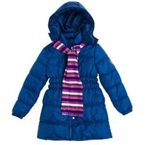 Other - NWT navy puffer long coat with scarf girl 4T