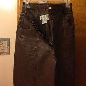 Pants - Brown leather pants, tall