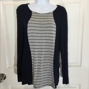 Philosophy Tops - Philosophy navy gray striped long sleeve top large